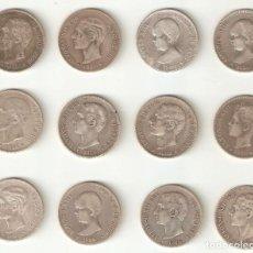Monedas de España: ESPECTACULAR LOTE DE 12 DUROS (5 PESETAS) EN MUY BUEN ESTADO - PLATA - SALIDA 1€. Lote 151332425
