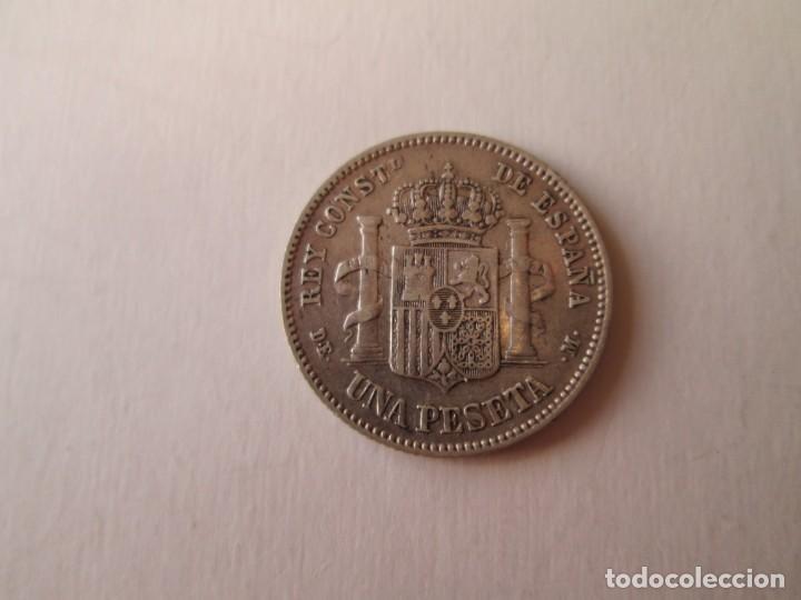 Monedas de España: ALFONSO XII * 1 PESETA 1876*76 DE M * PLATA - Foto 2 - 151607902