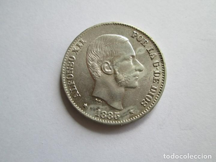 ALFONSO XII * 50 CENTAVOS DE PESO 1885 - FILIPINAS * PLATA S/C (Numismática - España Modernas y Contemporáneas - De Isabel II (1.834) a Alfonso XIII (1.931))