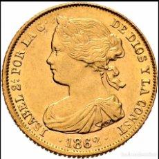 Monedas de España: ISABEL II. SEVILLA. 100 REALES. .S/C BRILLÓ PARTE BRILLÓ ORIGINAL. Lote 152531693