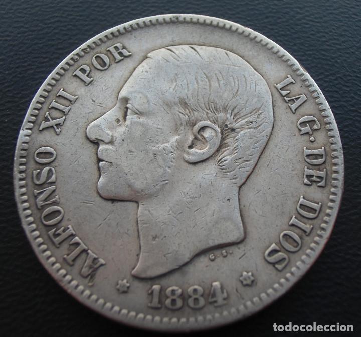 ALFONSO XII, 5 PESETAS, 1884, ESTRELLAS 18 Y 84, PLATA (Numismática - España Modernas y Contemporáneas - De Isabel II (1.834) a Alfonso XIII (1.931))