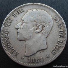 Monedas de España: ALFONSO XII, 5 PESETAS, 1884, ESTRELLAS 18 Y 84, PLATA. Lote 152584102