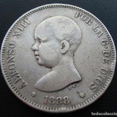 Monedas de España: ALFONSO XIII, 5 PESETAS, 1888 MP-M, ESTRELLAS FLOJAS 18 Y 88, PLATA.. Lote 152584534