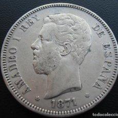 Monedas de España: AMADEO I, 5 PESETAS, 1871 SD-M, ESTRELLAS 18 Y 71, PLATA.. Lote 152584810