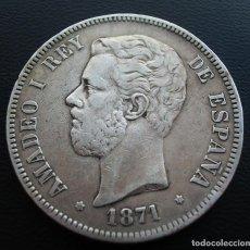 Monedas de España: AMADEO I, 5 PESETAS, 1871 SD-M, ESTRELLAS 18 Y 71, PLATA.. Lote 152584894