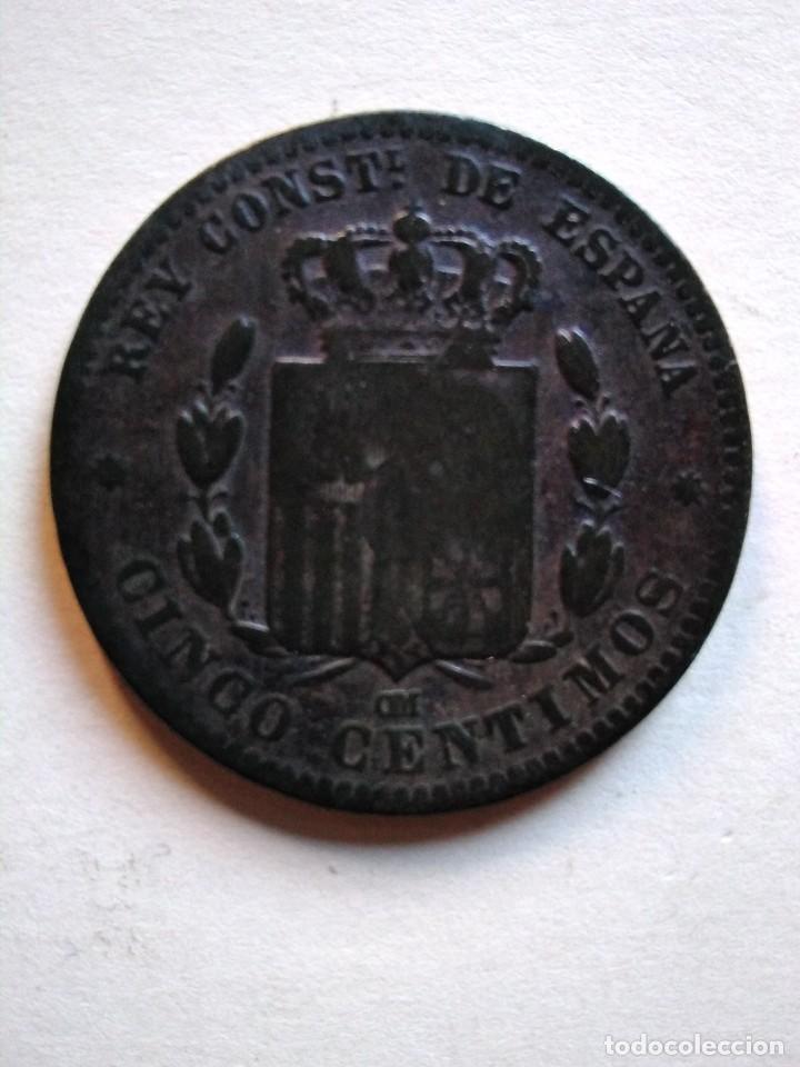 Monedas de España: 5 céntimos, Alfonso XIII,1877 om - Foto 2 - 153523502