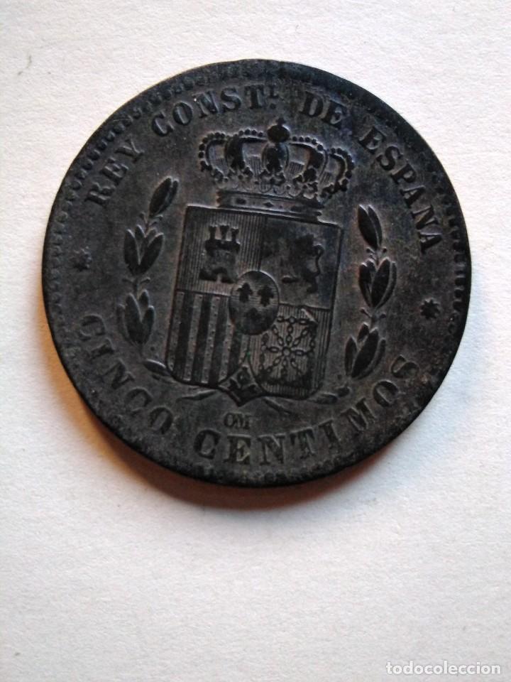 Monedas de España: 5 céntimos, Alfonso xii,1879 om - Foto 2 - 153523686
