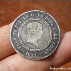 Monedas de España: 10 REALES RESELLADOS FERNANDO VII - !! SANTANDER L.T. ¡¡ - 1821 - MUY ESCASA - PLATA. Lote 153883030