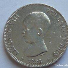 Monedas de España: MONEDA DE PLATA DE 5 PESETAS DE ALFONSO XIII DE 1888 * 18 88 MP M VARIANTE CUELLO REDONDO, . Lote 155750642
