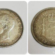 Monedas de España: MONEDA 5 PESETAS. ALFONSO XIII. TUPE. AÑO 1898. SGV. ESTRELLAS NO SE VE LOS NÚMEROS. DURO PLATA. ESP. Lote 155888534