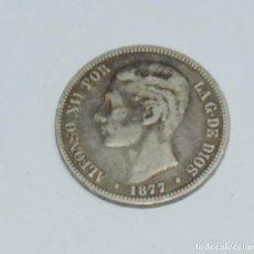 Monedas de España: MONEDA 5 PESETAS ALFONSO XII, AÑO 1877, EN LAS ESTRELLAS NO SE VEN LOS NÚMEROS, DURO DE PLATA, D.E.M. Lote 155889202