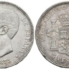 Monedas de España: *** BONITAS 5 PESETAS DE 1875 *18-75 DEM DE ALFONSO XII. CAL-25A. PLATA ***. Lote 155945570