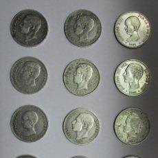 Monedas de España: 12 MONEDAS DE 5 PESETAS DE PLATA GOBIERNO PROVISIONAL, AMADEO I, ALFONSO XII, ALFONSO XIII LOTE-1563. Lote 155953474
