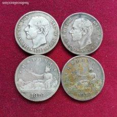 Monedas de España: LOTE DE 4 MONEDAS DE 2 PESETAS DE PLATA. Lote 156218482