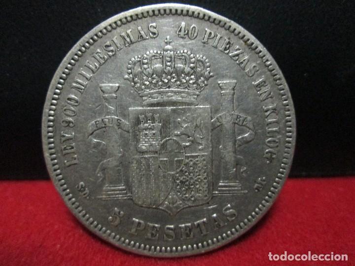 Monedas de España: 5 pesetas amadeo I 1871 ESTRELLAS 18 71 PLATA - Foto 2 - 156507030