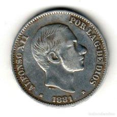 Monedas de España: ESPAÑA: 50 CENTAVOS DE PESO 1881 PLATA ALFONSO XII CECA MANILA - ISLAS FILIPINAS. Lote 156624914