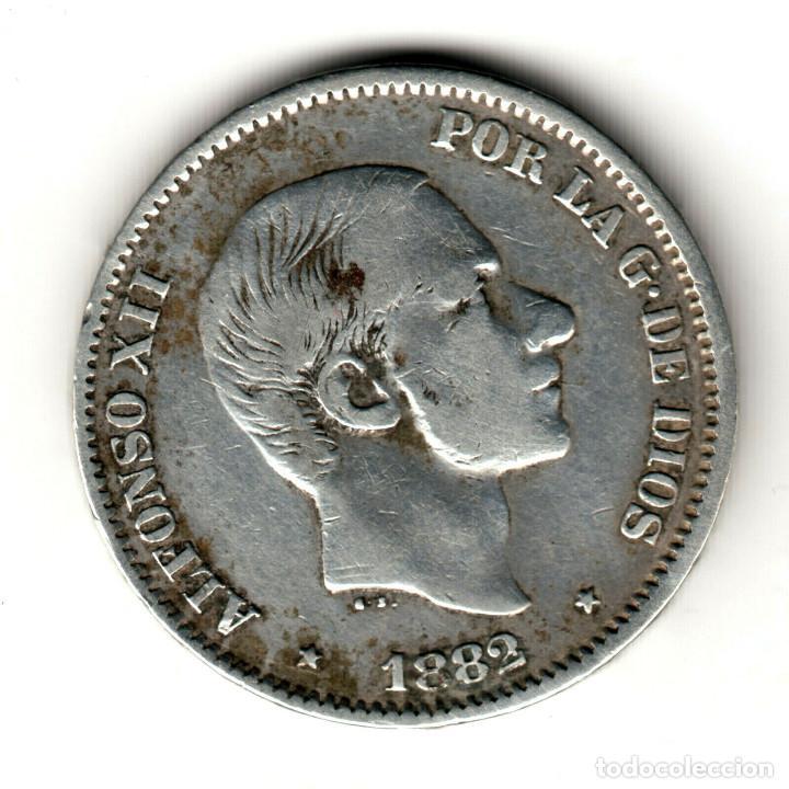 ESPAÑA: 50 CENTAVOS DE PESO 1882 PLATA ALFONSO XII CECA MANILA - ISLAS FILIPINAS (Numismática - España Modernas y Contemporáneas - De Isabel II (1.834) a Alfonso XIII (1.931))