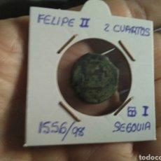 Monedas de España: 2 CUARTOS FELIPE II 1556-98 SEGOVIA ACUEDUCTO I , ESCASA. Lote 156744529