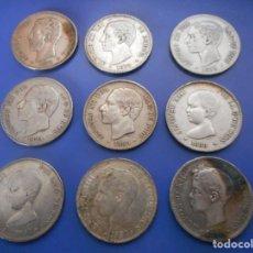 Monedas de España: COLECCION MONEDA DE PLATA 5 PESETAS DIFERENTES AÑOS PATINA ORIGINAL. Lote 156996366