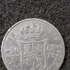 Monedas de España: 20 CENTAVOS DE PESO DE PLATA, ISABEL II, MANILA, FILIPINAS, 1868. Lote 157744962