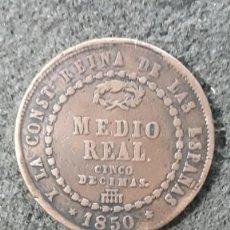 Monedas de España: 1/2 MEDIO REAL, 5 CINCO DECIMAS ISABEL II, SEGOVIA 1850. Lote 157753542