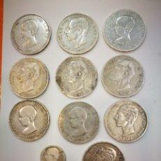 Monedas de España: PLATA LOTE DE DIEZ DUROS DE PLATA + UNA PESETA.MAS DE 250GRAMOS DE PLATA. Lote 157848906