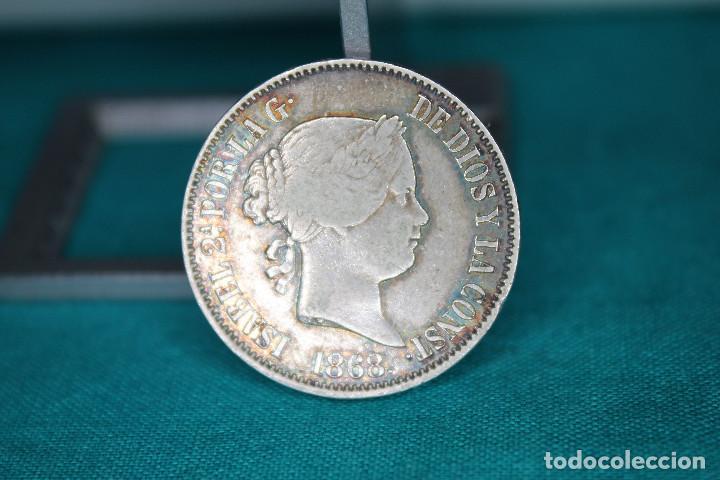 ISABEL II 1868 MANILA 50 CÉNTIMOS DE PESO. PLATA MBC+ R 3141 (Numismática - España Modernas y Contemporáneas - De Isabel II (1.834) a Alfonso XIII (1.931))