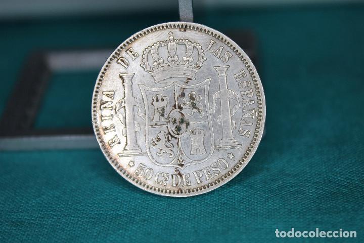 Monedas de España: Isabel II 1868 Manila 50 Céntimos de Peso. Plata MBC+ r 3141 - Foto 2 - 158485278