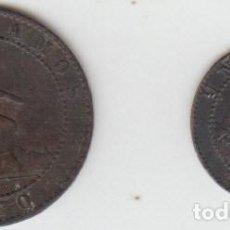 Monedas de España: ESPAÑA - LOTE DE 2 MONEDAS DE 1 CENTIMO Y 2 CENTIMOS 1870. Lote 158721562