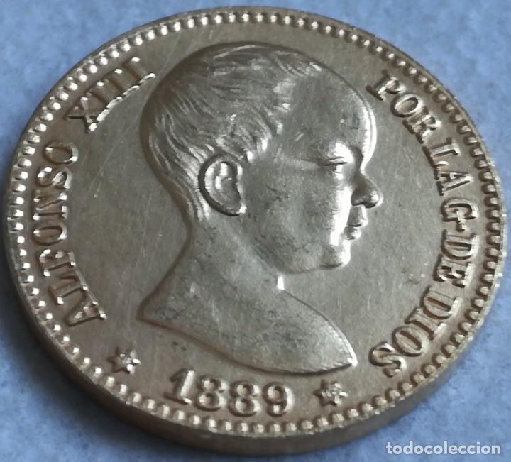 RÉPLICA MONEDA 20 PESETAS. 1889. ESTRELLAS 18 89. REY ALFONSO XIII. MADRID, ESPAÑA. RARA (Numismática - España Modernas y Contemporáneas - De Isabel II (1.834) a Alfonso XIII (1.931))