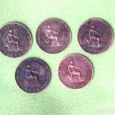 Monedas de España: LOTE 5 MONEDAS 1 CENTIMO 1870.. Lote 159842598