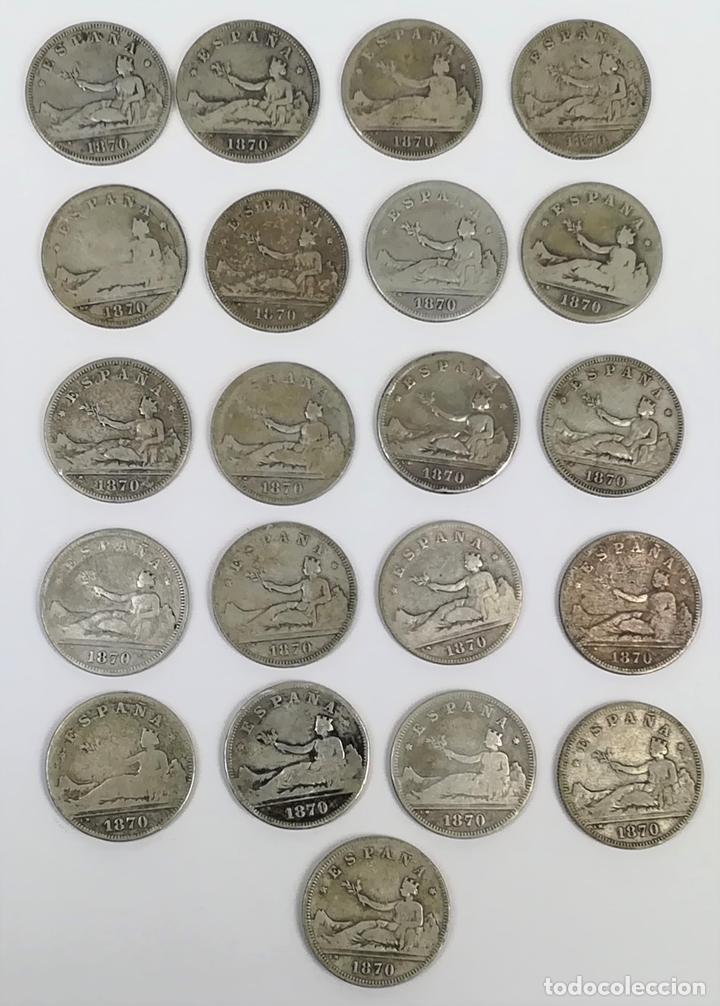 21 MONEDAS DE 2 PESETAS DE PLATA. ESPAÑA 1870 (Numismática - España Modernas y Contemporáneas - De Isabel II (1.834) a Alfonso XIII (1.931))
