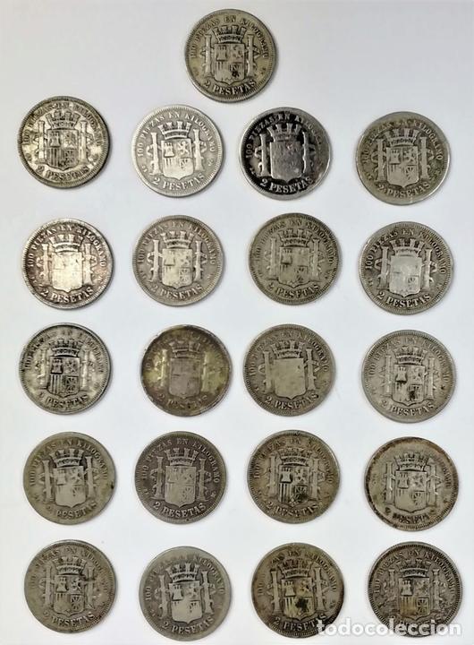 Monedas de España: 21 MONEDAS DE 2 PESETAS DE PLATA. ESPAÑA 1870 - Foto 2 - 160088942