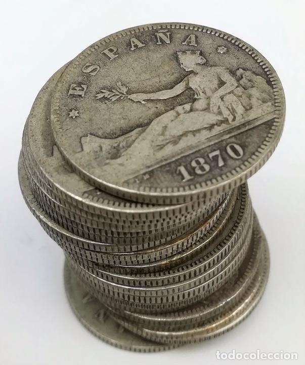 Monedas de España: 21 MONEDAS DE 2 PESETAS DE PLATA. ESPAÑA 1870 - Foto 3 - 160088942