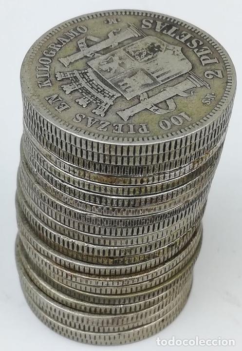 Monedas de España: 21 MONEDAS DE 2 PESETAS DE PLATA. ESPAÑA 1870 - Foto 4 - 160088942