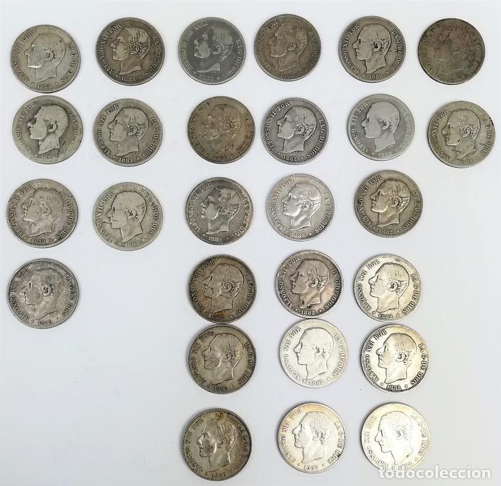27 MONEDAS. 2 PESETAS DE PLATA. ALFONSO XII. REY DE ESPAÑA.1879.1881.1882.1884 (Numismática - España Modernas y Contemporáneas - De Isabel II (1.834) a Alfonso XIII (1.931))