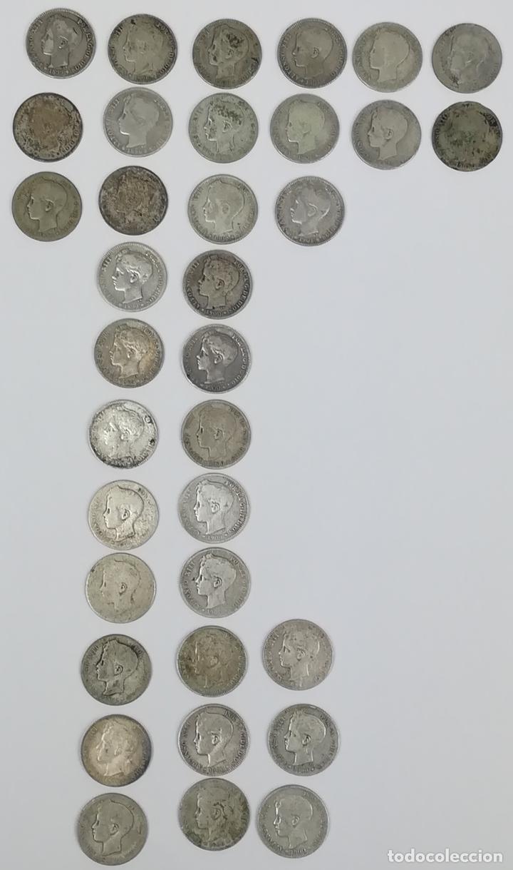 35 MONEDAS UNA PESETAS DE PLATA ALFONSO XIII REY DE ESPAÑA 1896.1899.1900.1901.1902 (Numismática - España Modernas y Contemporáneas - De Isabel II (1.834) a Alfonso XIII (1.931))