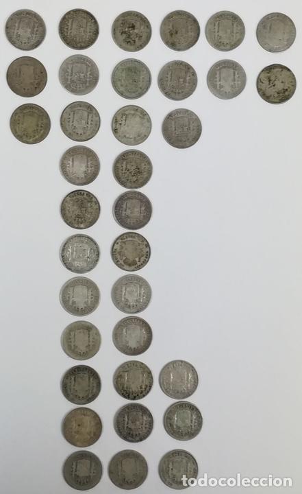 Monedas de España: 35 MONEDAS UNA PESETAS DE PLATA ALFONSO XIII REY DE ESPAÑA 1896.1899.1900.1901.1902 - Foto 2 - 160104338
