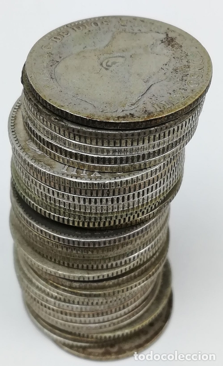Monedas de España: 35 MONEDAS UNA PESETAS DE PLATA ALFONSO XIII REY DE ESPAÑA 1896.1899.1900.1901.1902 - Foto 3 - 160104338