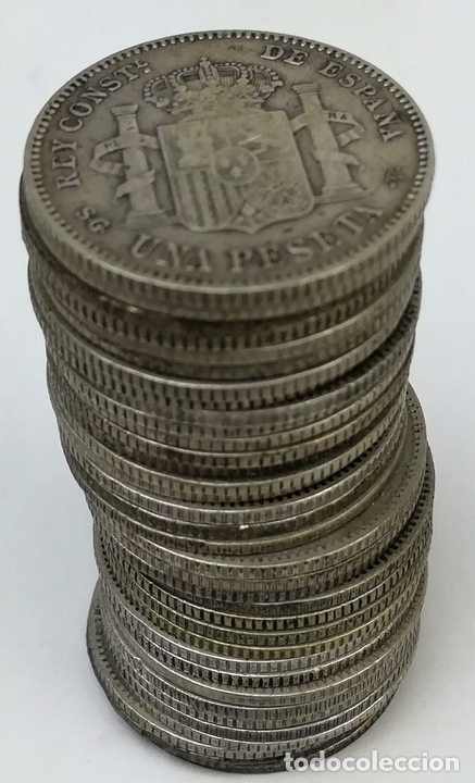 Monedas de España: 35 MONEDAS UNA PESETAS DE PLATA ALFONSO XIII REY DE ESPAÑA 1896.1899.1900.1901.1902 - Foto 4 - 160104338