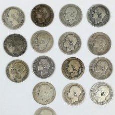 Monedas de España: 17 MONEDAS DE PLATA. UNA PESETAS REY ALFONSO XII. ESPAÑA 1876.1882.1883.1885. Lote 160111354