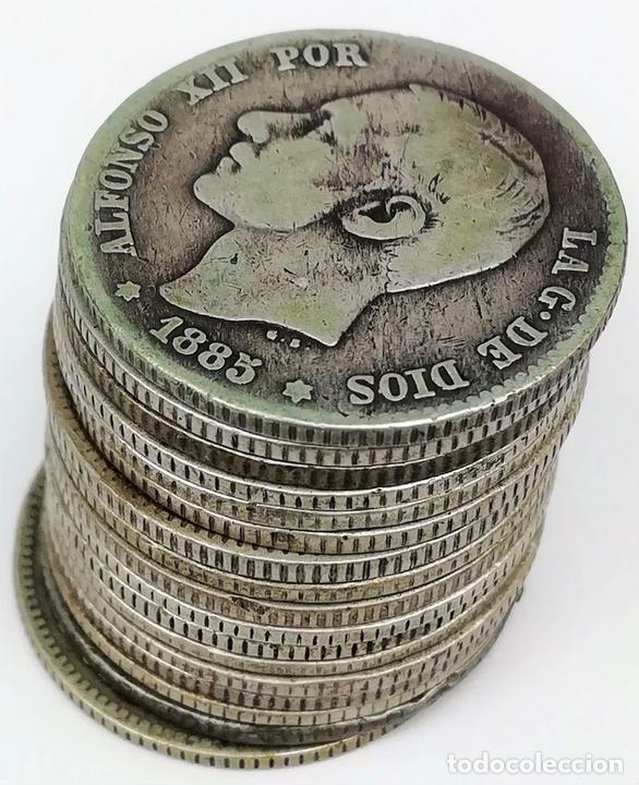 Monedas de España: 17 MONEDAS DE PLATA. UNA PESETAS REY ALFONSO XII. ESPAÑA 1876.1882.1883.1885 - Foto 3 - 160111354
