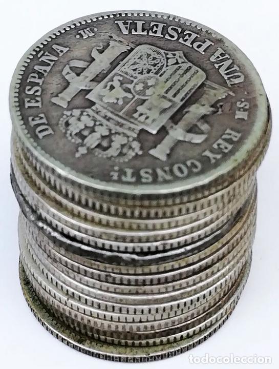 Monedas de España: 17 MONEDAS DE PLATA. UNA PESETAS REY ALFONSO XII. ESPAÑA 1876.1882.1883.1885 - Foto 4 - 160111354