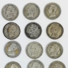 Monedas de España: 16 MONEDAS UNA PESETAS DE PLATA ALFONSO XIII REY DE ESPAÑA 1903.1904. Lote 160113814