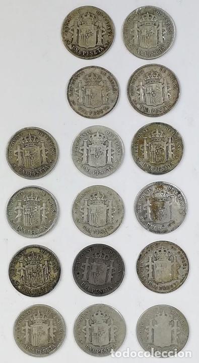 Monedas de España: 16 MONEDAS UNA PESETAS DE PLATA ALFONSO XIII REY DE ESPAÑA 1903.1904 - Foto 2 - 160113814