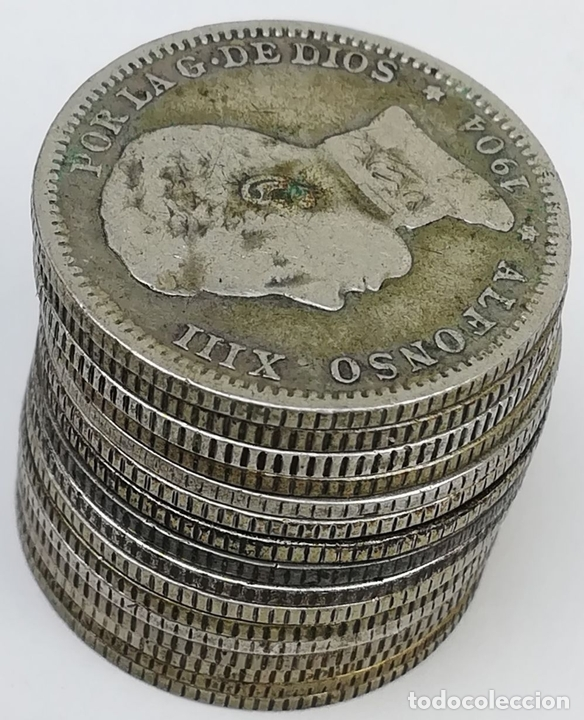 Monedas de España: 16 MONEDAS UNA PESETAS DE PLATA ALFONSO XIII REY DE ESPAÑA 1903.1904 - Foto 3 - 160113814