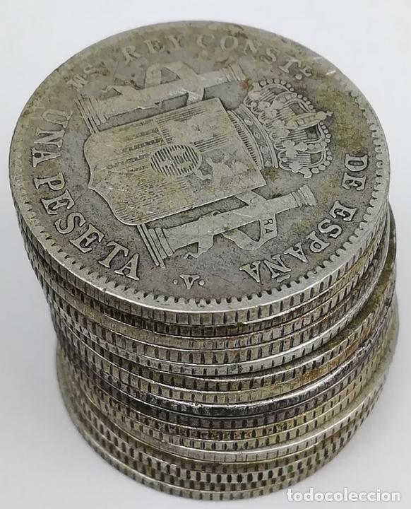 Monedas de España: 16 MONEDAS UNA PESETAS DE PLATA ALFONSO XIII REY DE ESPAÑA 1903.1904 - Foto 4 - 160113814