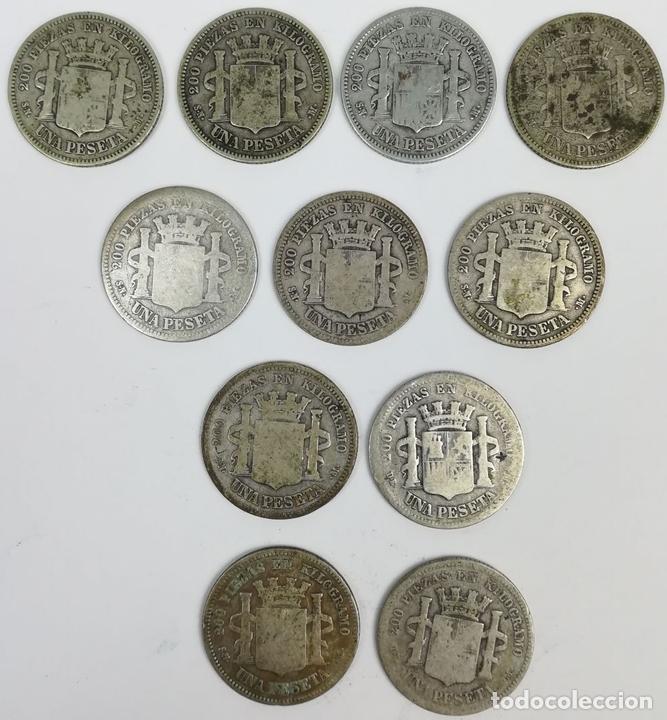 Monedas de España: 11 MONEDAS DE UNA PESETA DE PLATA. ESPAÑA 1870 - Foto 2 - 160119458