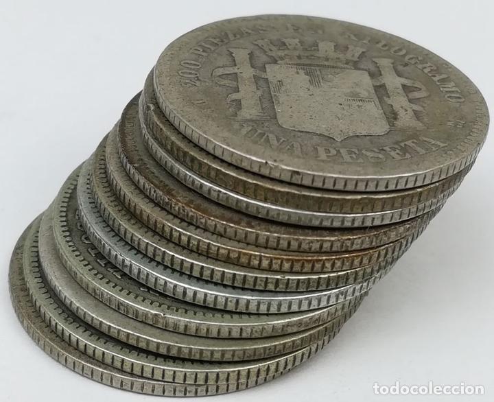 Monedas de España: 11 MONEDAS DE UNA PESETA DE PLATA. ESPAÑA 1870 - Foto 4 - 160119458