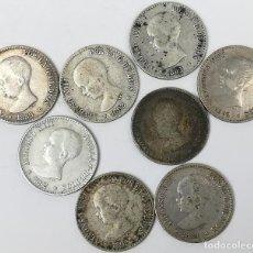 Monedas de España: 8 MONEDAS DE 50 CÉNTIMOS DE PLATA. ALFONSO XIII REY DE ESPAÑA 1889.1892. Lote 160139090
